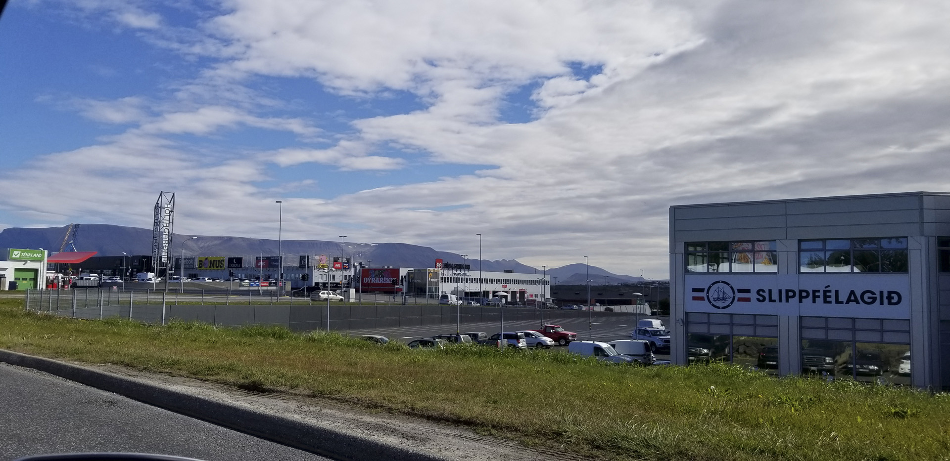 Driving down Sæbraut in Laugardalur district, Reykjavík, Iceland.
