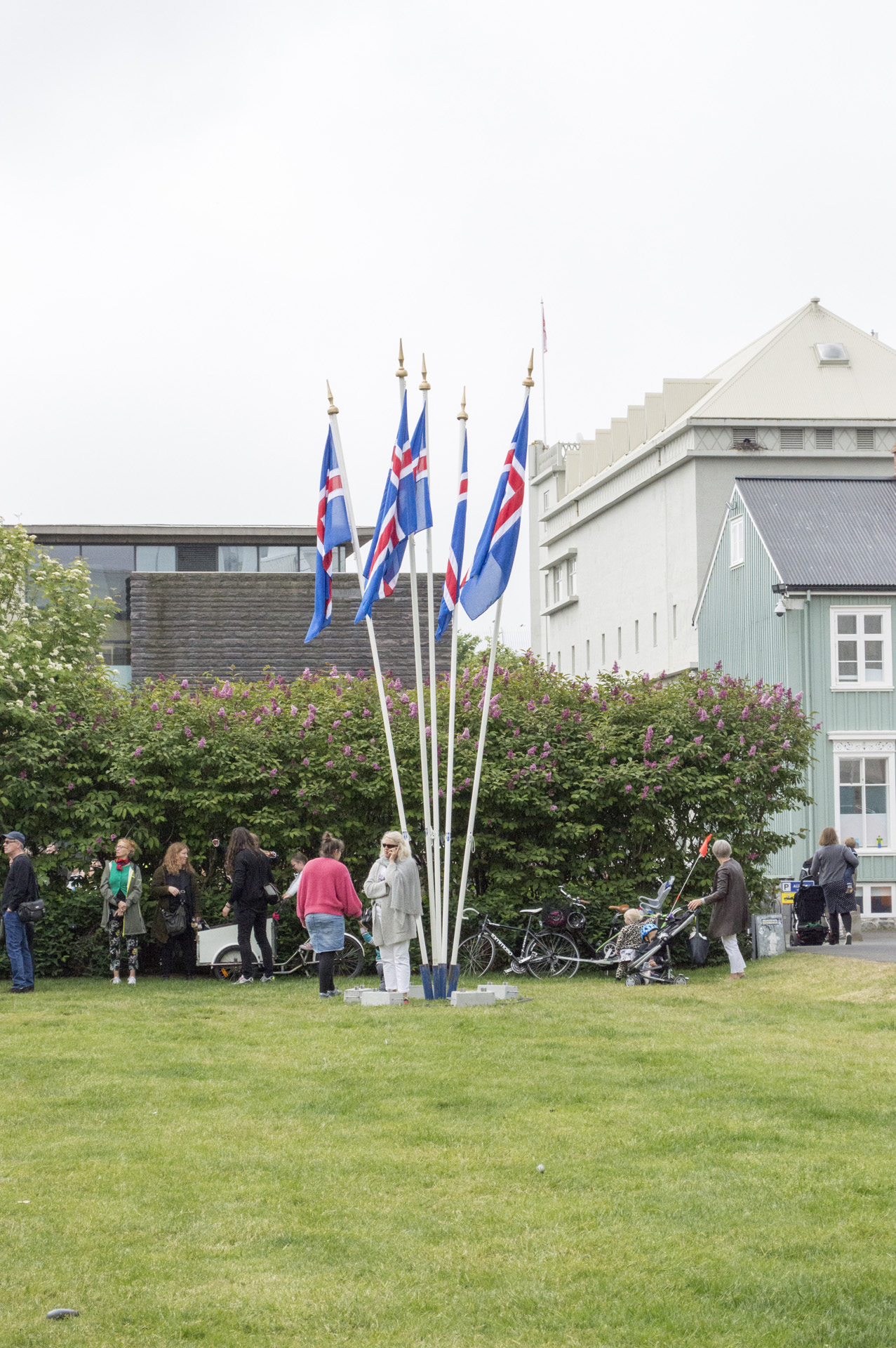People gather to celebrate National Day in Austurvöllur, Reykjavík, Iceland.