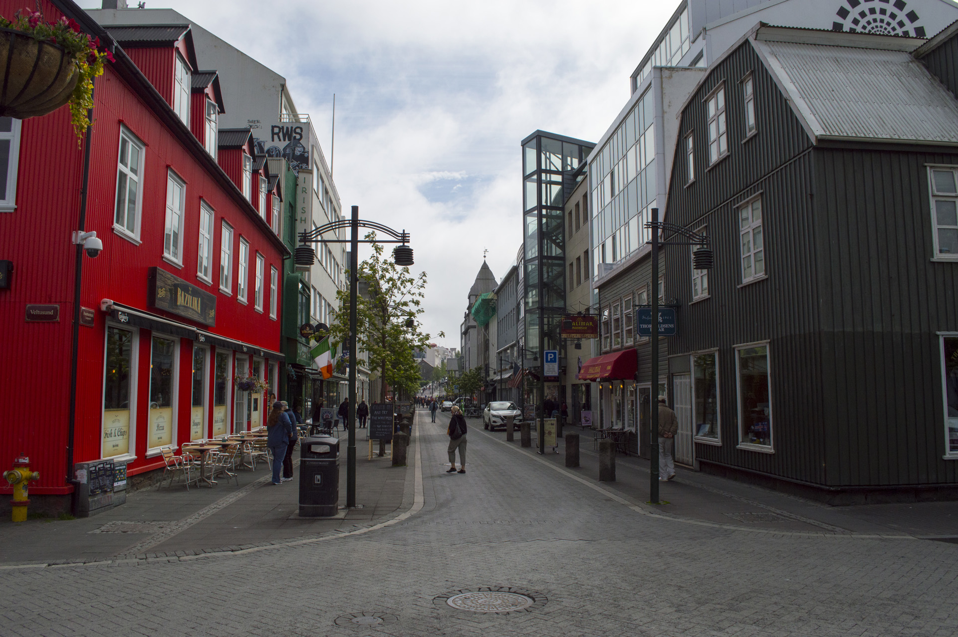 Looking down Austurstræti on National Day, just off of Ingólfur Square, Reykjavík, Iceland.