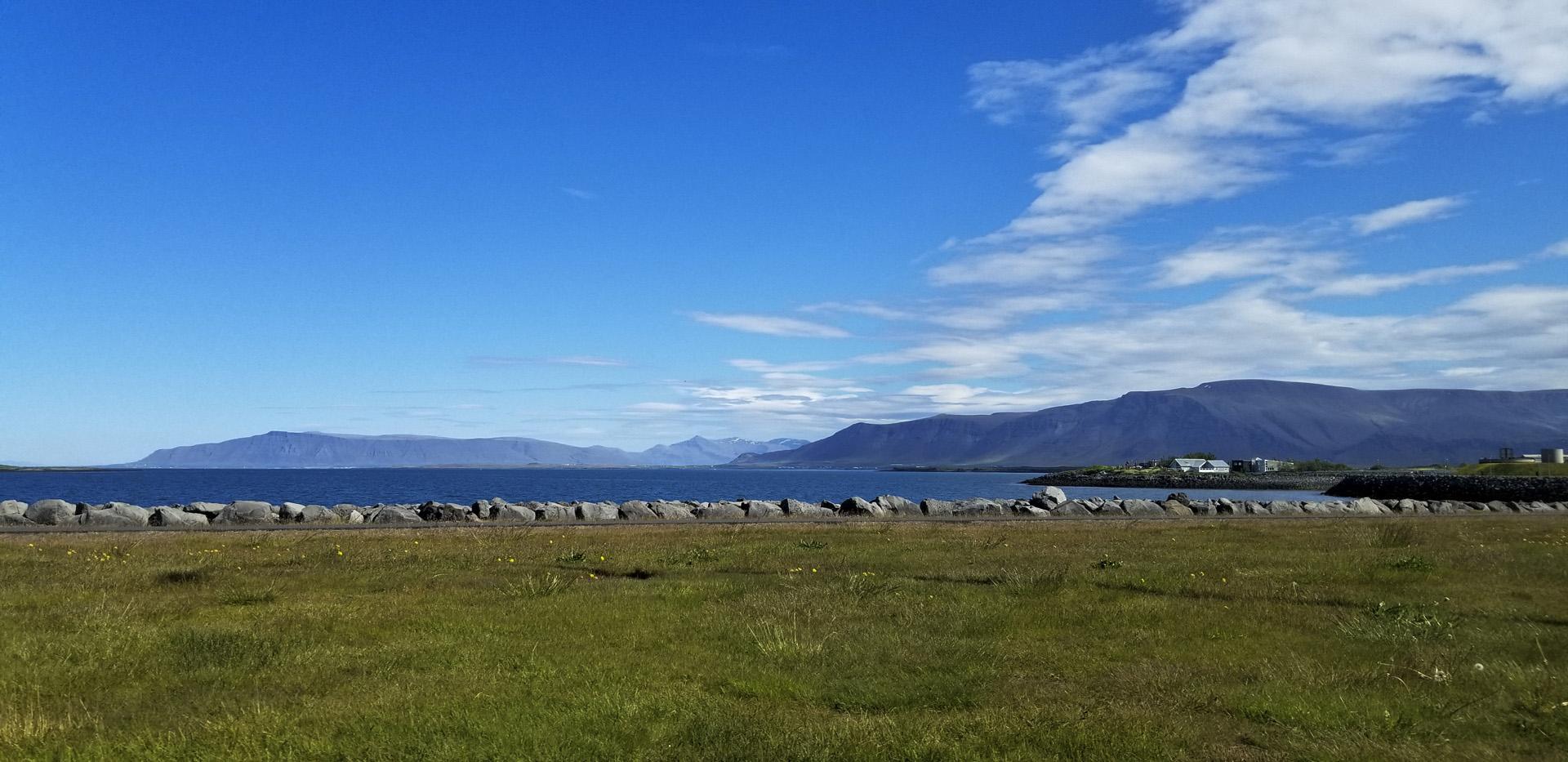A view of Faxaflói bay from Sæbraut, Reykjavík, Iceland.