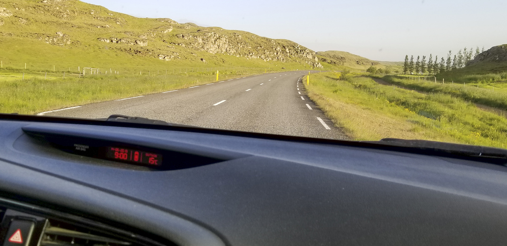 Driving down Skeiða-og Hrunamannvegur, north of Flúðir, Iceland. This picture was taken at 9:00 p.m. a week before the sumer solstice.