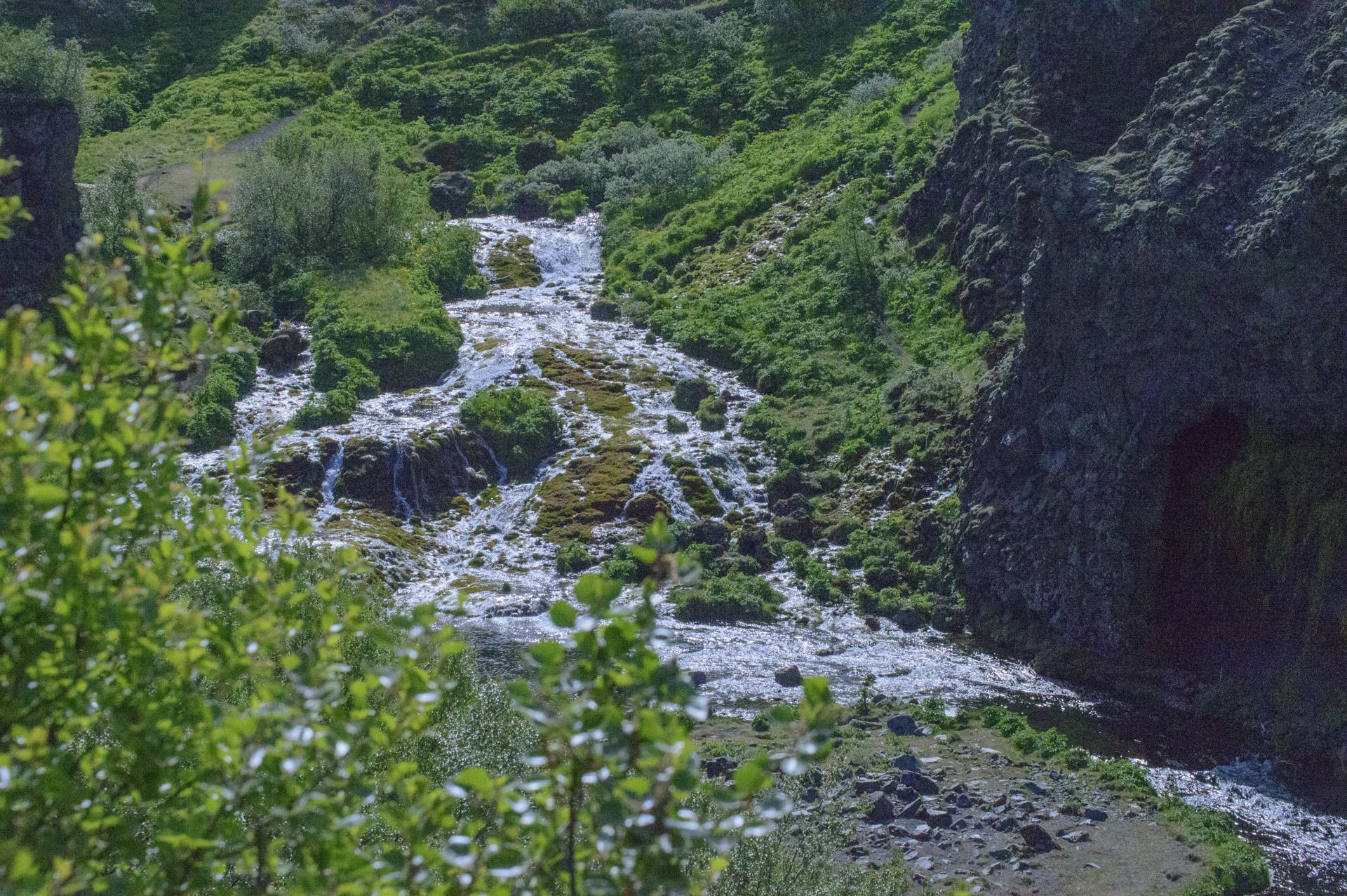 Water flowing near the Rauðá river,  Gjáin, Þjórsárdalur valley, Árnessýsla, Suðurland region, Iceland.
