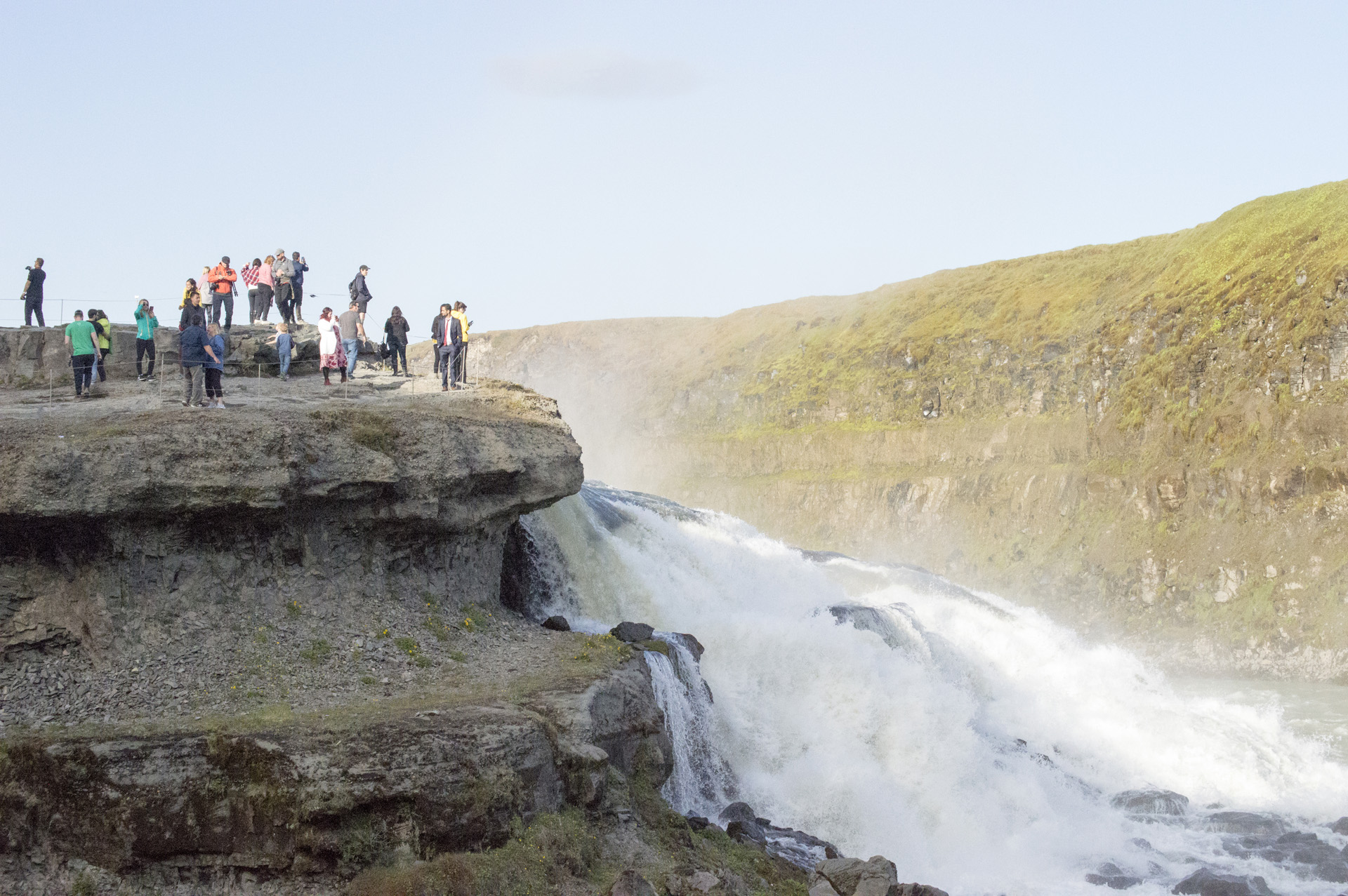 Crowd overlooking Gullfoss waterfall, Suðurland region, Iceland