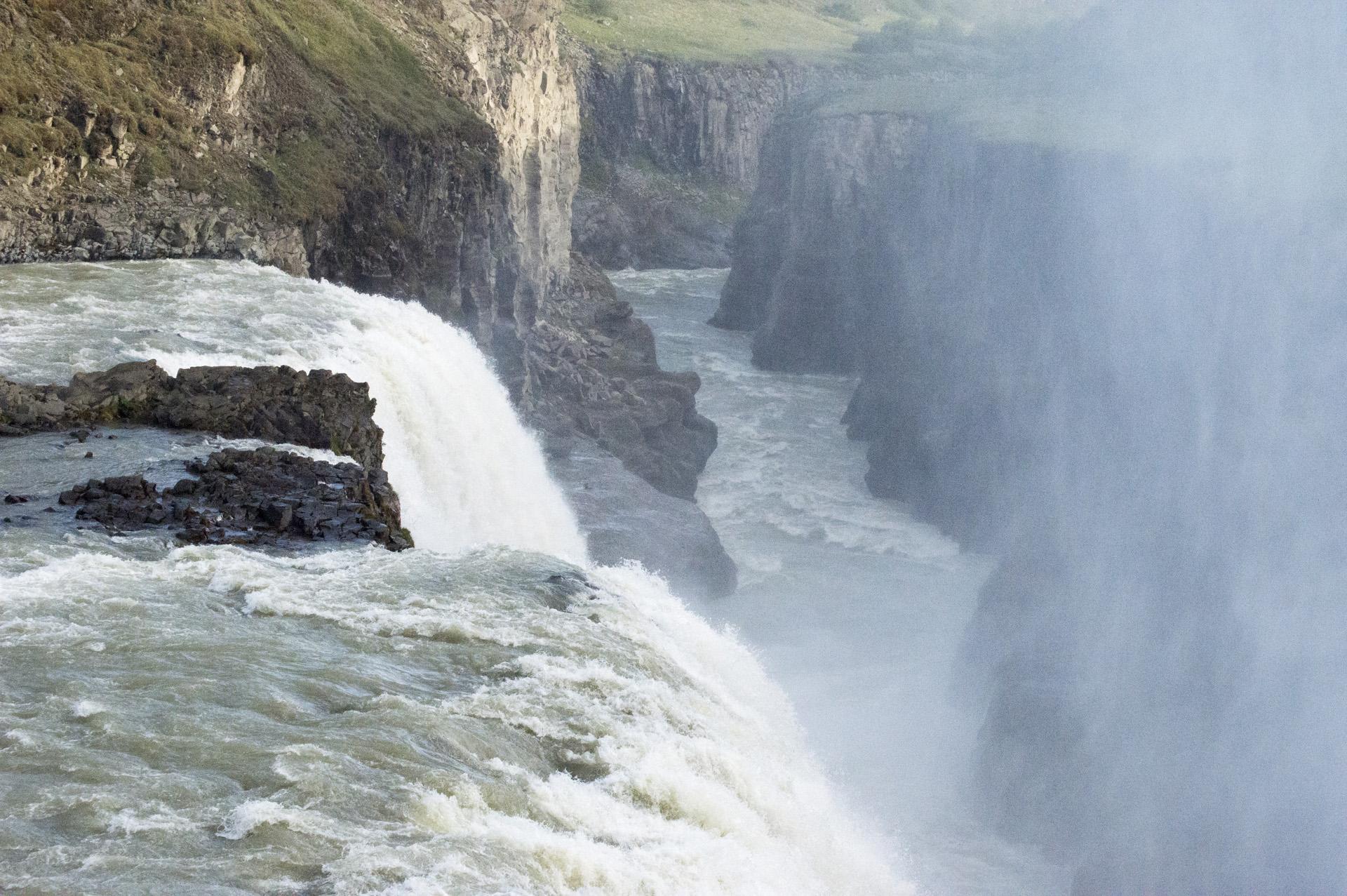 Hvitá river extends from Gullfoss waterfall, Suðurland region, Iceland