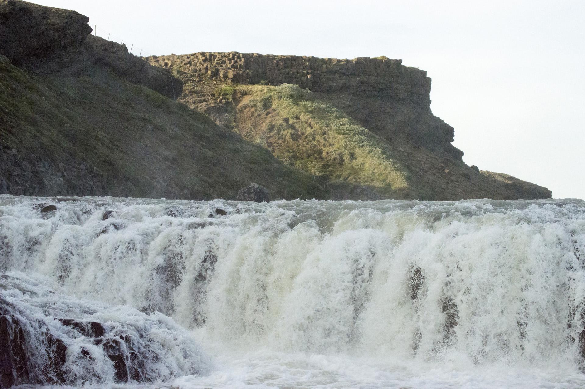 Upper steps of Gullfoss waterfall, Suðurland region, Iceland