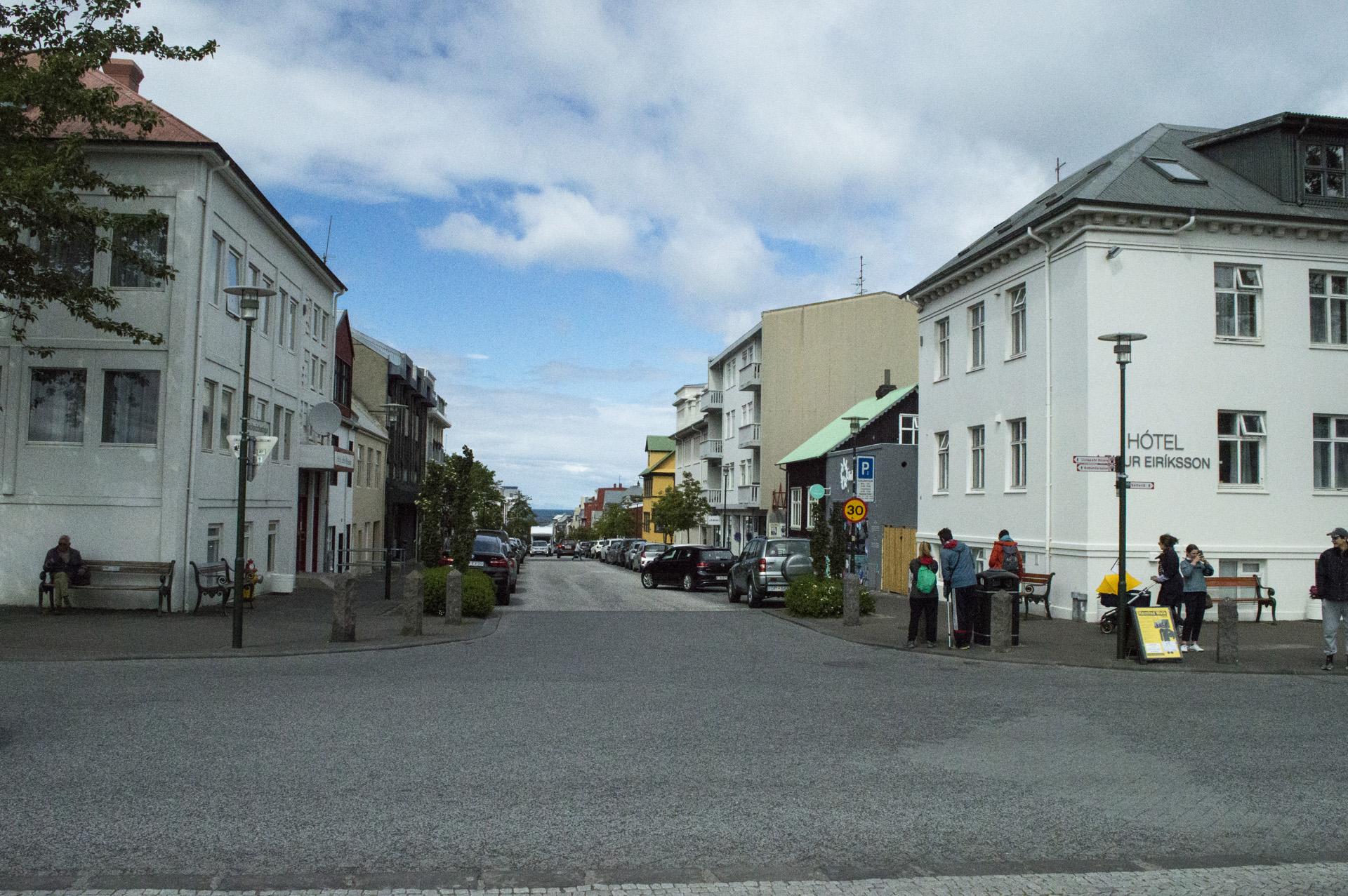 The view down Skólavörðustigur, as seen from Hallgrímskirkja, Reykjavík, Iceland.