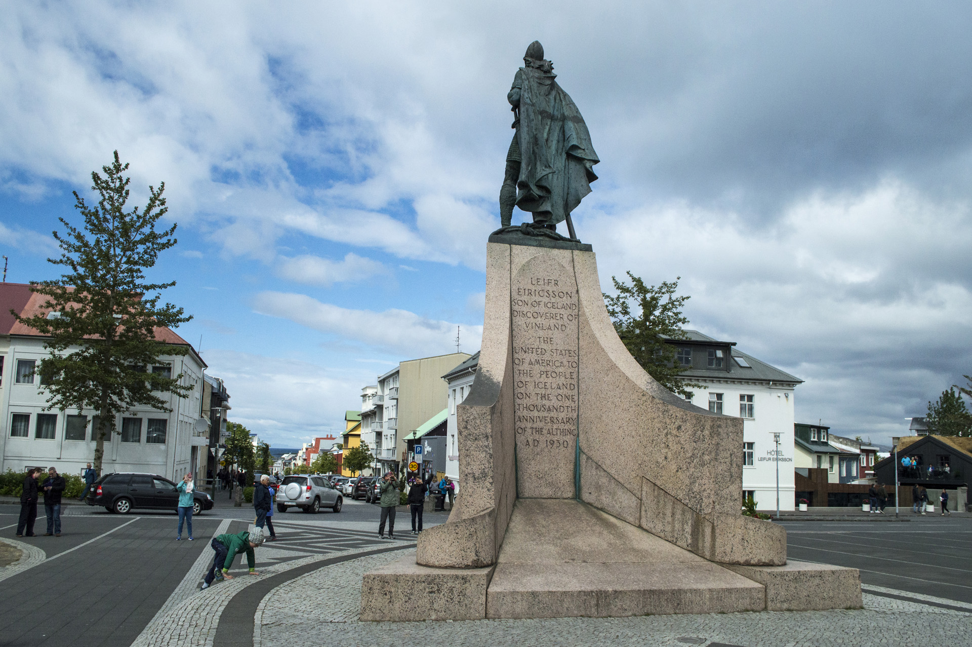 The statue of Leif Eríksson faces Skólavörðustigur, Reykjavík, Iceland.