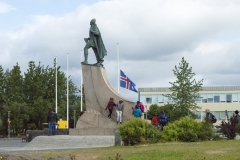 A statue of Leif Eríksson in front of Hallgrímskirkja, Reykjavík, Iceland. The statue was a gift from the United States in 1930 to commemorate the 1000th anniversary of Alþingi, the national parliament of Iceland, and it predates the construction of the church.