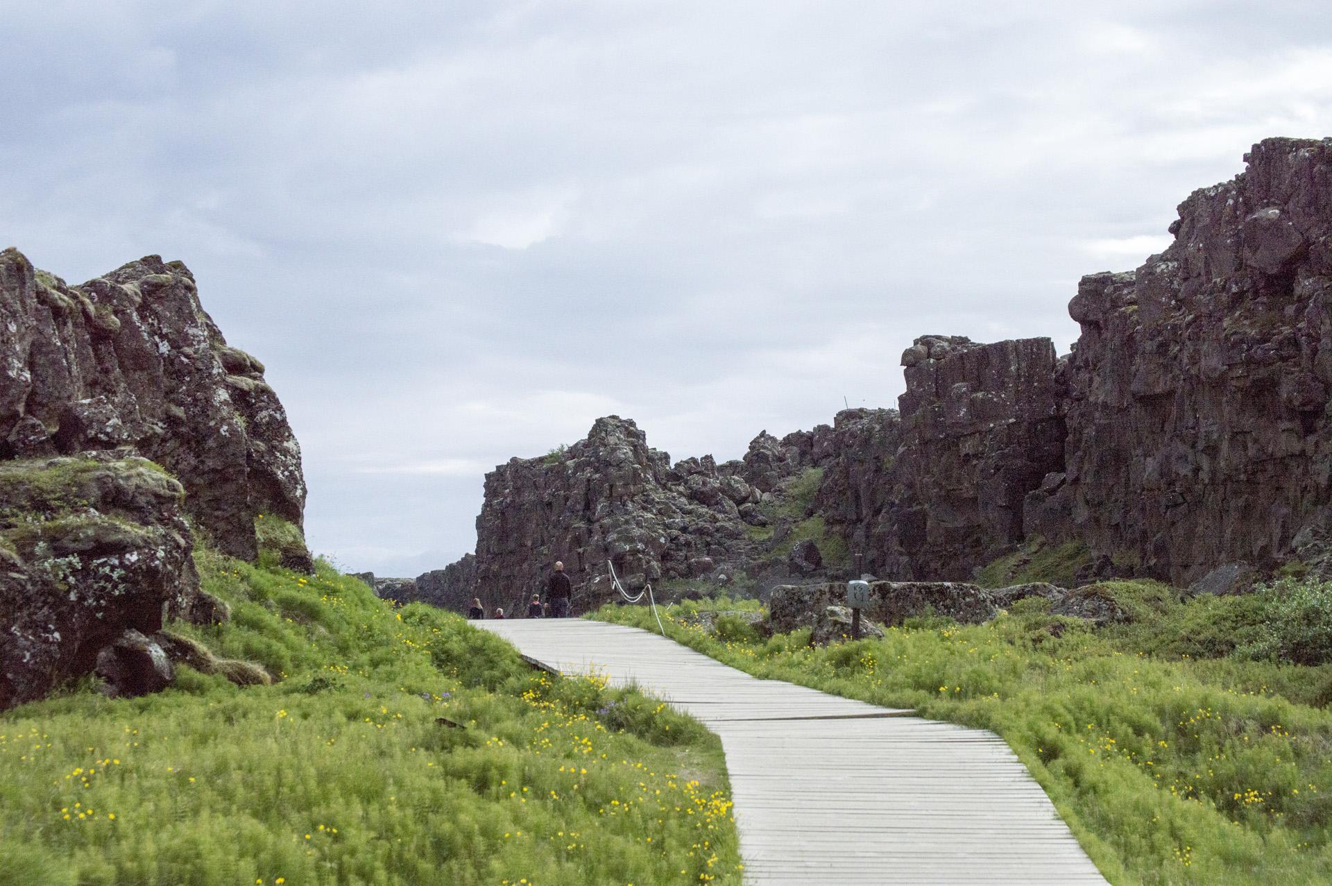 Walking along the rift valey between the Eurasian and North American (right) tectonic plates, Þingvellir National Park, Suðurland region, Iceland.