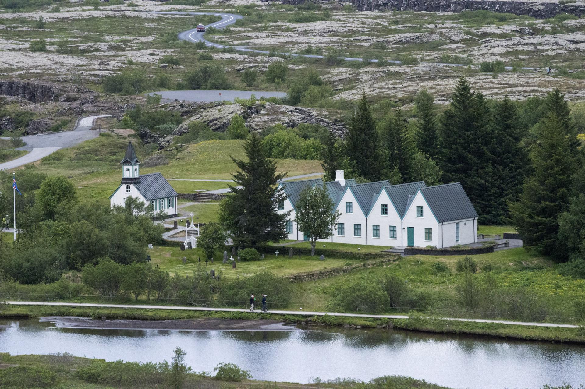 Þingvallakirkja (church, on the left) and nearby areas, Þingvellir National Park, Suðurland region, Iceland.