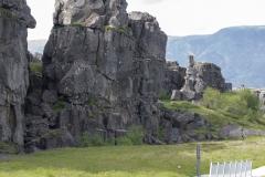 Gaps in the North American side of the Mid-Atlantic Ridge rift valley, Þingvellir National Park, Suðurland region, Iceland.