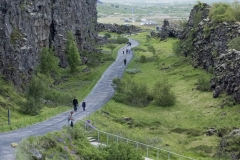 The rift valley along the Mid-Atlantic Ridge between the North American (left) and Eurasian tectonic plates, Þingvellir National Park, Suðurland region, Iceland.