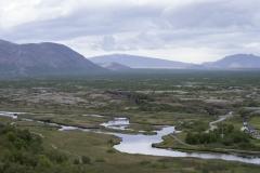 Öxará river flowing to Þingvallavatn lake, Þingvellir National Park, Suðurland region, Iceland.