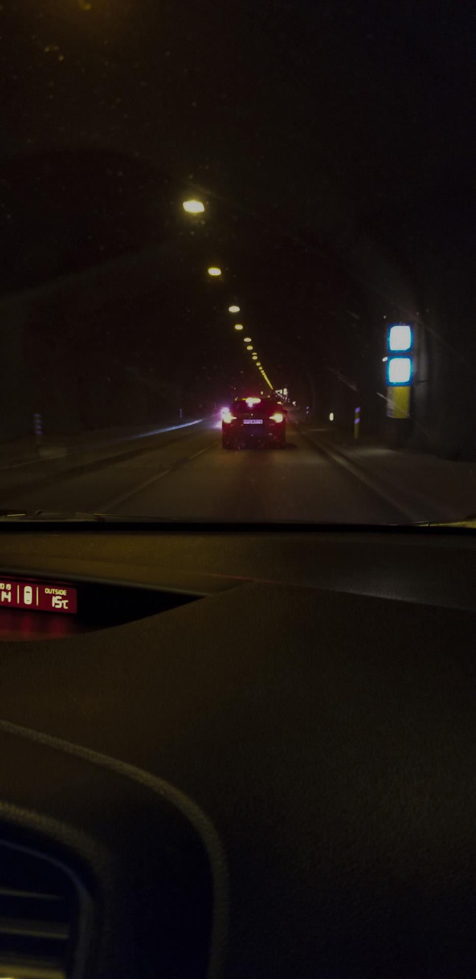 Driving through Hvalfjarðargöng, the tunnel that runs more than 3.5 miles (5.7km) under Hvalfjörður (Whale Fjord), Capital region, Iceland.