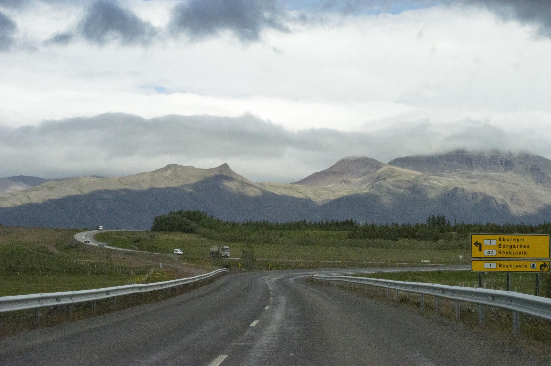 Rural intersection in Vesturland region, Iceland.