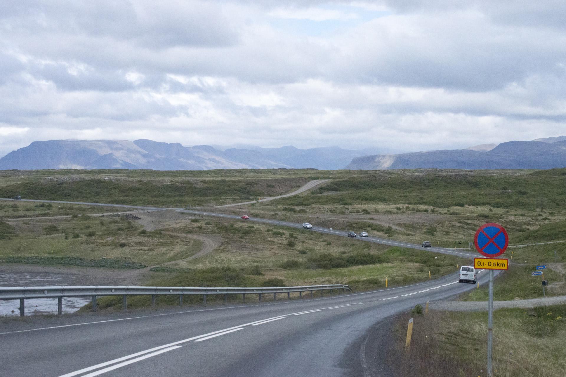 Rural road in Vesturland region, Iceland.