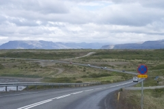 Rural road in Vesturland region, Iceland.