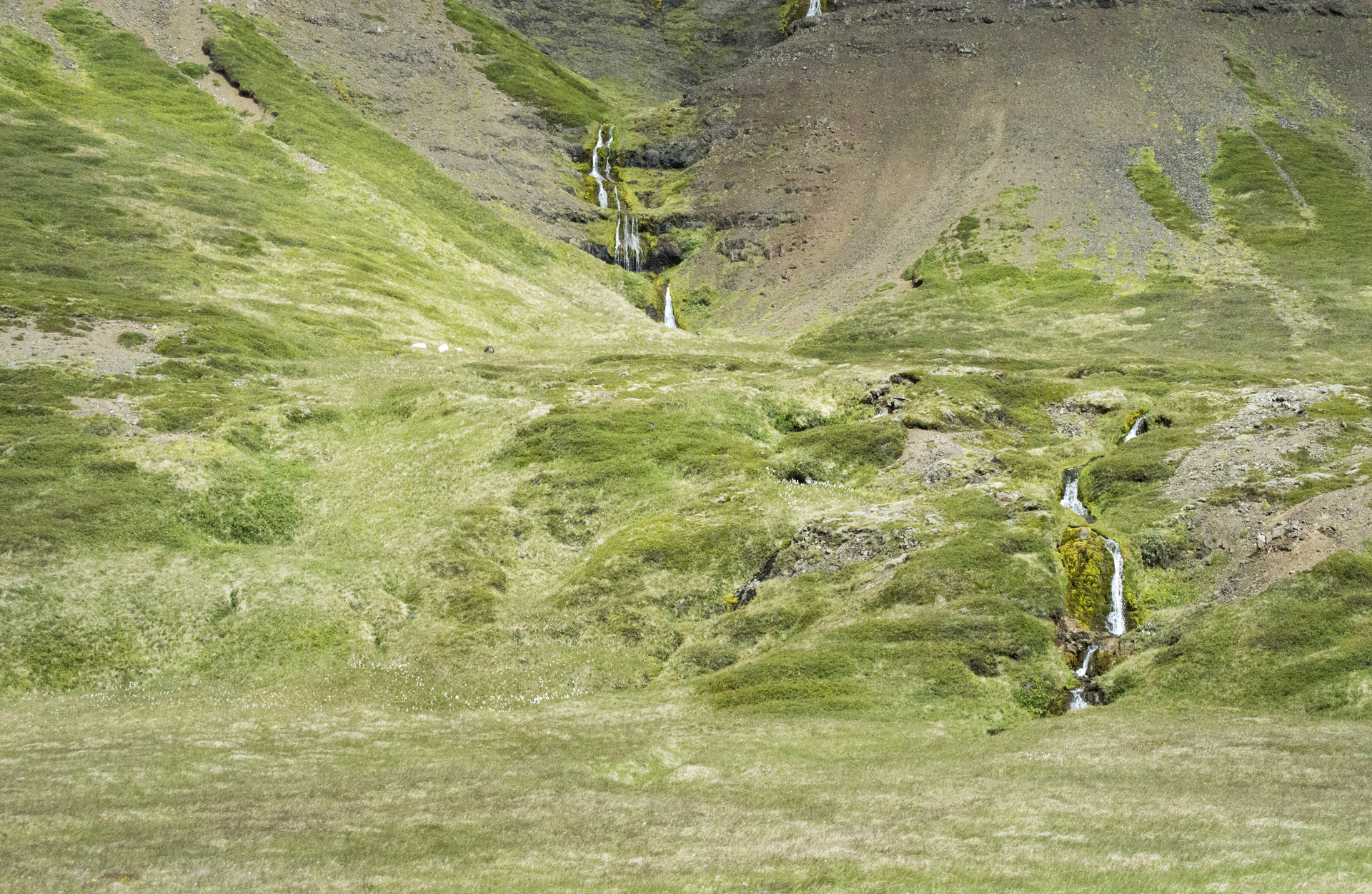 Small waterfall at the base of Seljafell mountain, Vesturland region, Iceland.
