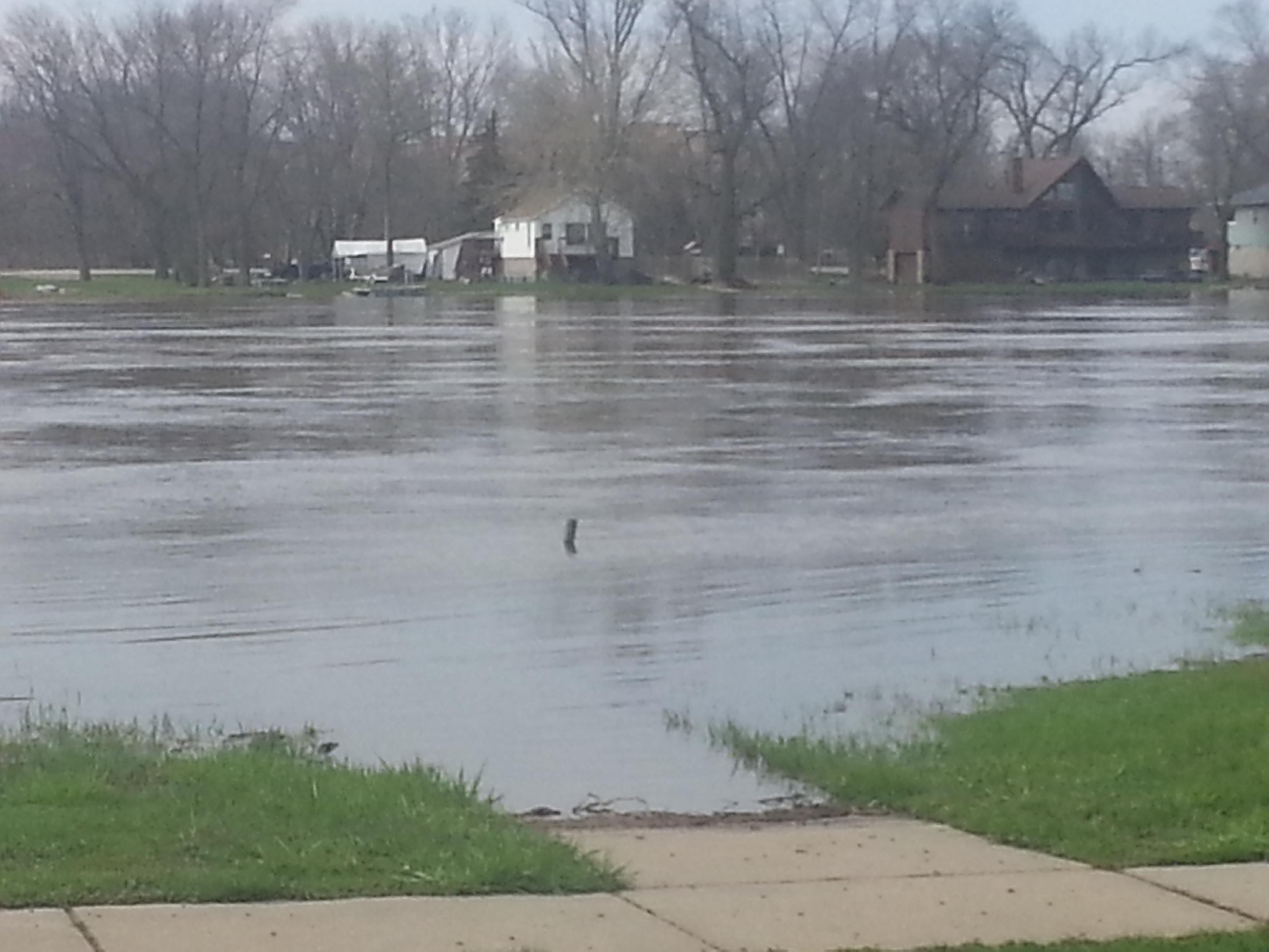 Rock River Flooding - Submerged sidewalk